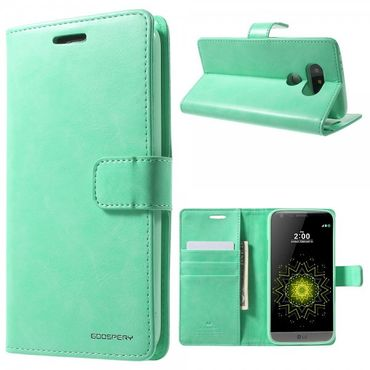 LG G5 Mercury Goospery Blue Moon Series Leder Cover Hülle mit Standfunktion - cyan