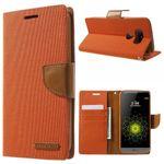 Goospery - LG G5 Hülle - Handy Bookcover - Canvas Diary Series - orange/camel