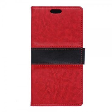 Sony Xperia X Zweifarbige Crazy Horse Leder Cover Hülle - rot