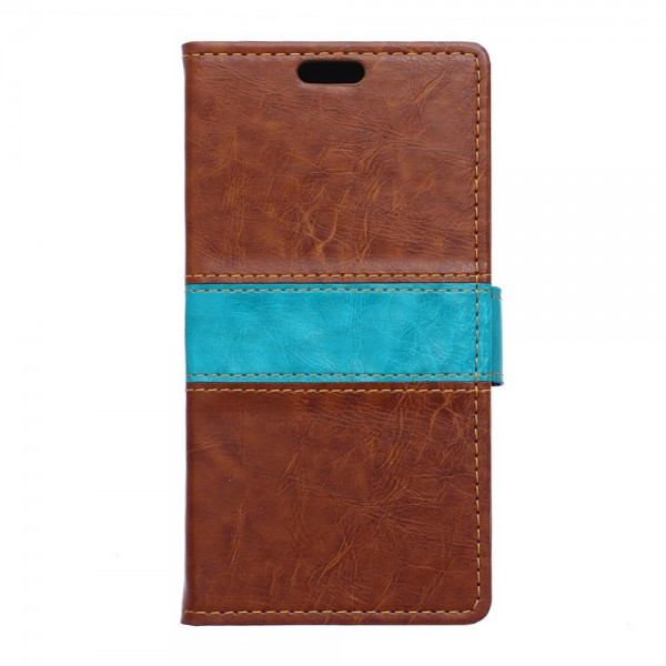 Sony Xperia X Zweifarbige Crazy Horse Leder Cover Hülle - braun