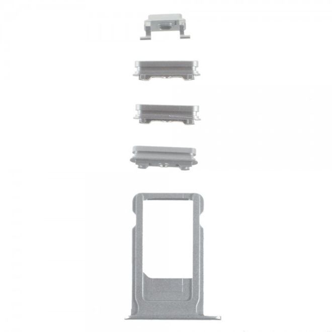 iPhone 6S OEM Seitentasten Set (Stummschalten, Power, Volumentasten und SIM Halterung) - silber