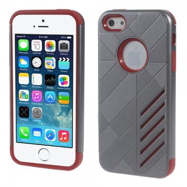iPhone SE/5S/5 Robuste, stabile Plastik Case Hülle - rot/grau
