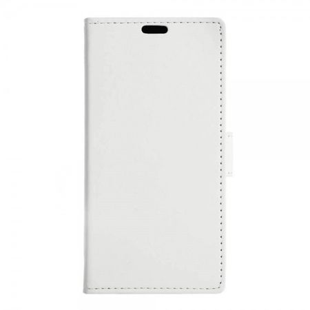 Wiko Lenny 3 Schicke Leder Cover Handy Hülle mit Standfunktion - weiss