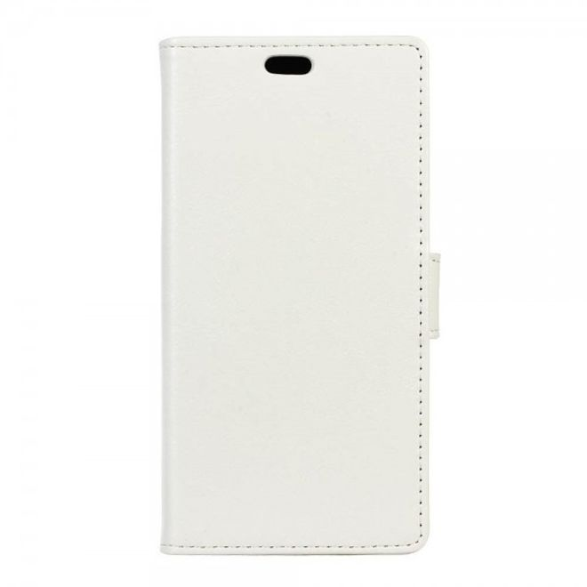LG X Screen Schicke Crazy Horse Leder Cover Hülle mit Standfunktion - weiss