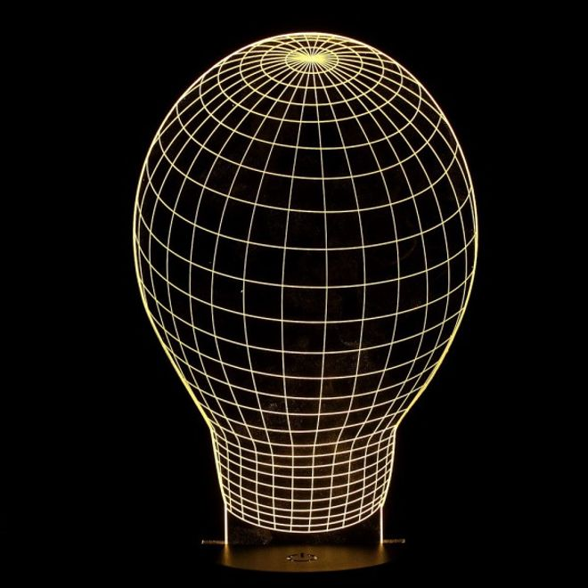 usb led tischlampe mit optischem 3d effekt gl hbirne weisse basis warmes weisses licht. Black Bedroom Furniture Sets. Home Design Ideas