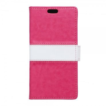 Sony Xperia E5 Zweifarbige Leder Case Hülle mit Standfunktion - rosa