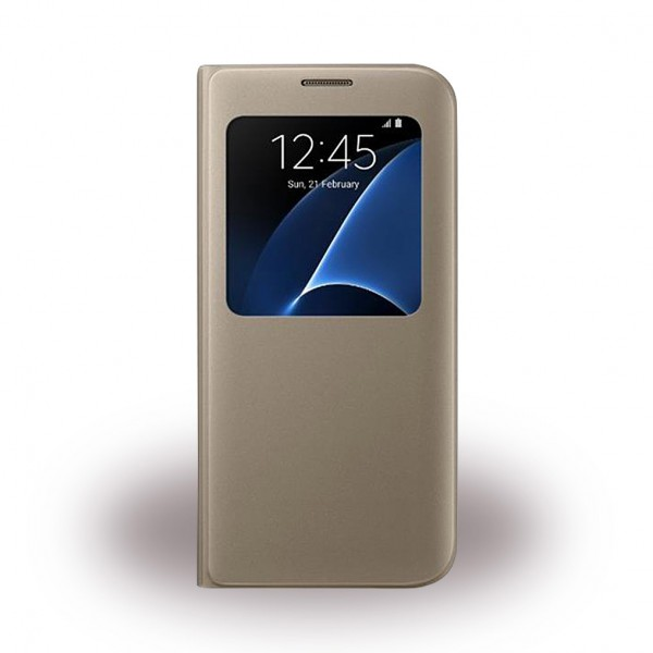 Samsung Samsung Galaxy S7 Edge Original S-View Handy Cover Hülle (EF-CG935PF) - gold