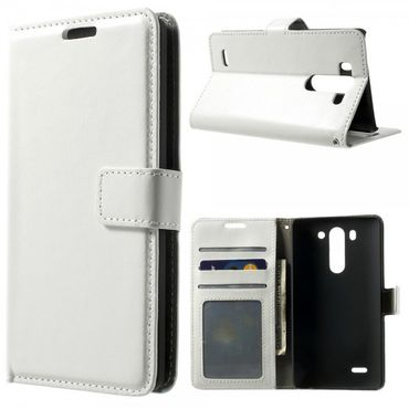 LG G3S Schicke Crazy Horse Leder Cover Hülle mit Standfunktion - weiss