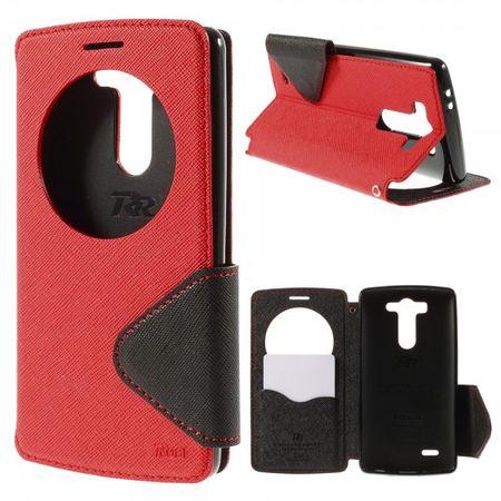 LG G3S Roar Korea Modische Leder Case Hülle mit kleinem Fenster - rot
