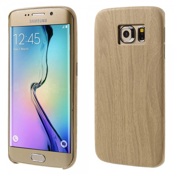 Samsung Galaxy S6 Edge Hart Plastik Cover Handyhülle mit Holzmuster - khakifarben