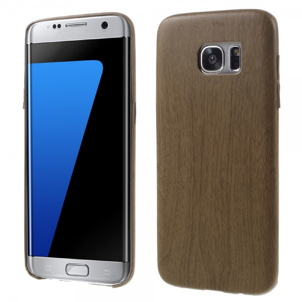 Samsung Galaxy S7 Edge Hart Plastik Cover Hülle mit Holzmuster - braun