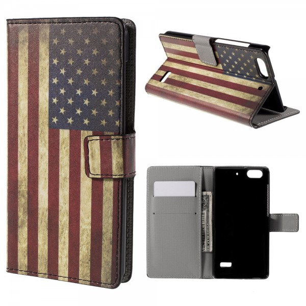 Huawei Honor 4C Leder Case Hülle mit USA Flagge im Retrolook