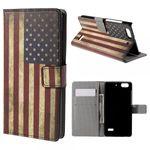 Huawei Honor 4C Leder Case Hülle mit USA Flagge im Retrolook