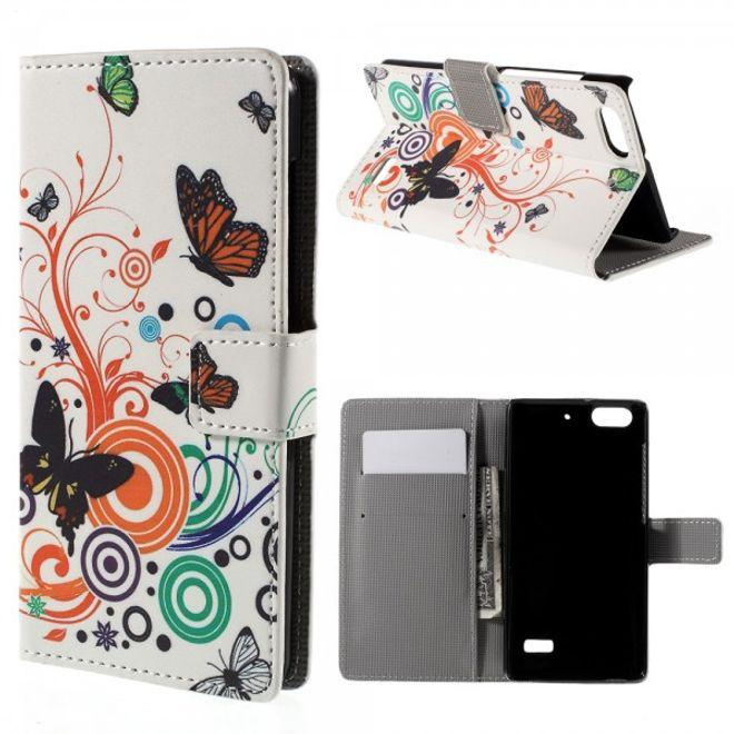 Huawei Honor 4C Leder Case Hülle mit Schmetterlingen und Kreisen