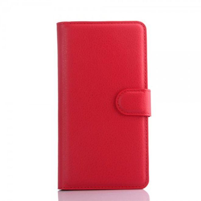 Huawei Honor 4C Schicke Leder Cover Handy Hülle mit Litchitextur und Standfunktion - rot