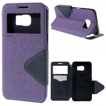 Samsung Galaxy S6 Edge Plus Roar Korea Modische Leder Case Hülle mit kleinem Fenster - purpur