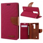 Goospery - LG Magna/G4c Hülle - Handy Bookcover - Canvas Diary Series - rot/camel