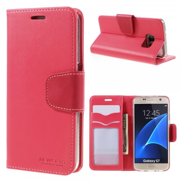 Newsets Samsung Galaxy S7 Newsets Mercury SNT Series Leder Cover Hülle mit Standfunktion - rosa
