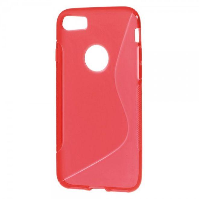 iPhone 8 / 7 Elastische Plastik Case Hülle S-Shape - rot