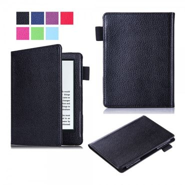 Amazon New Kindle 2016 Schlanke Leder Flip Case Tablet Hülle mit Litchitextur - schwarz