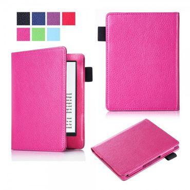 Amazon New Kindle 2016 Schlanke Leder Flip Case Tablet Hülle mit Litchitextur - rosa