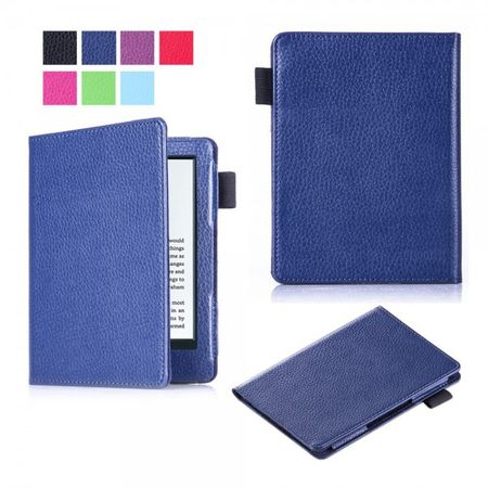 Amazon New Kindle 2016 Schlanke Leder Flip Case Tablet Hülle mit Litchitextur - dunkelblau