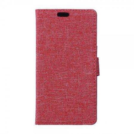LG K8 Leder Cover Handyhülle mit stoffartiger Oberfläche und Standfunktion - rot