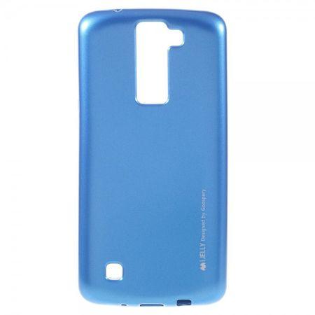 LG K8 Mercury Goospery Elastische Plastik Case Hülle im Metall Look - blau