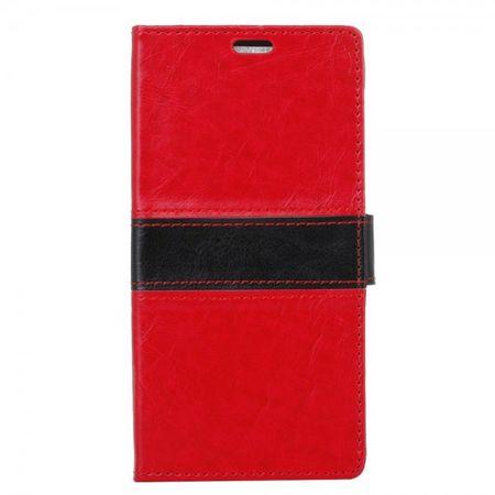 LG C Cam Zweifarbige Crazy Horse Leder Cover Handy Hülle mit Standfunktion - rot