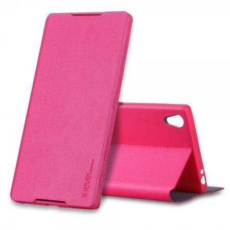 Sony Xperia Z5 Premium/Premium Dual Schlanke Leder Cover Hülle mit Standfunktion von X-Level - rosa