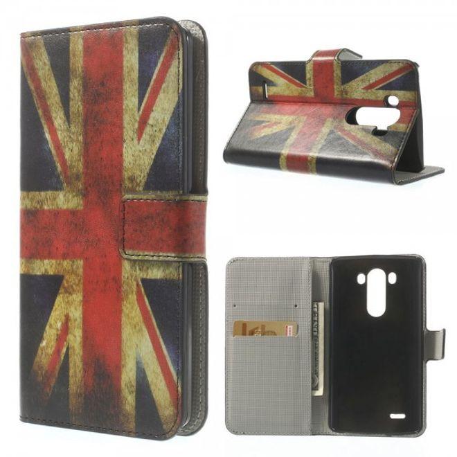 LG G3 Magnetische Leder Flip Case Hülle mit UK Flagge im Retrolook