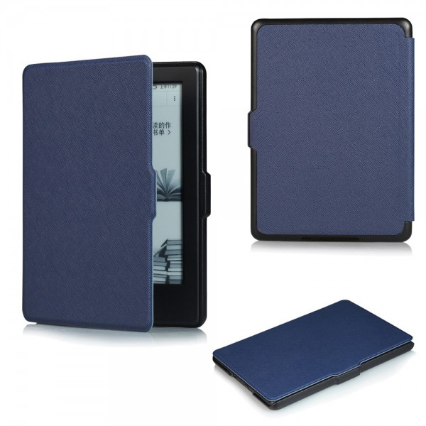 Amazon All-New Kindle Schicke Leder Smart Case Hülle mit Kreuzmuster - dunkelblau