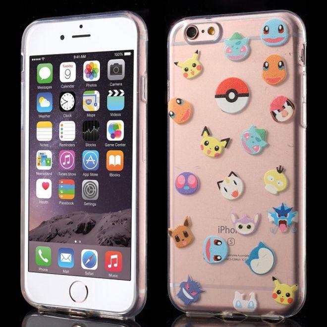 iPhone 6 Plus/6S Plus Elastische Plastik Case Gummi Hülle mit kleinen Pokemons