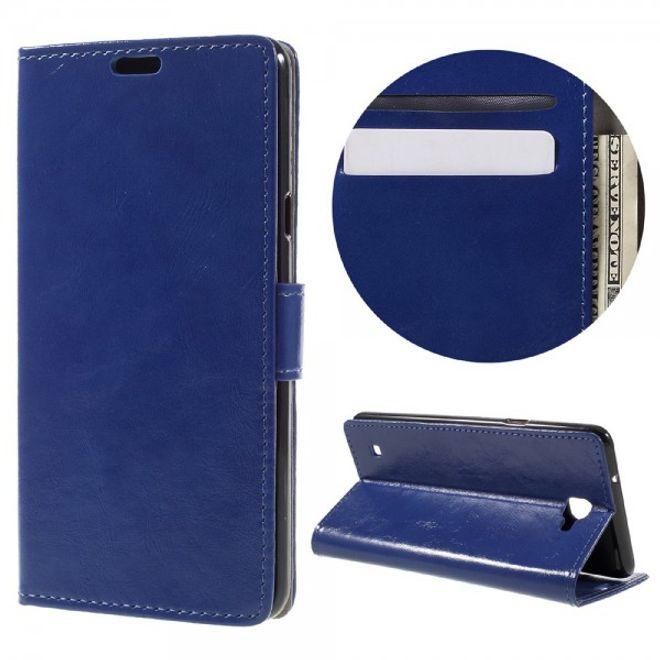 LG X5 Schicke Crazy Horse Leder Case Hülle mit Standfunktion und Kreditkartenslots - dunkelblau
