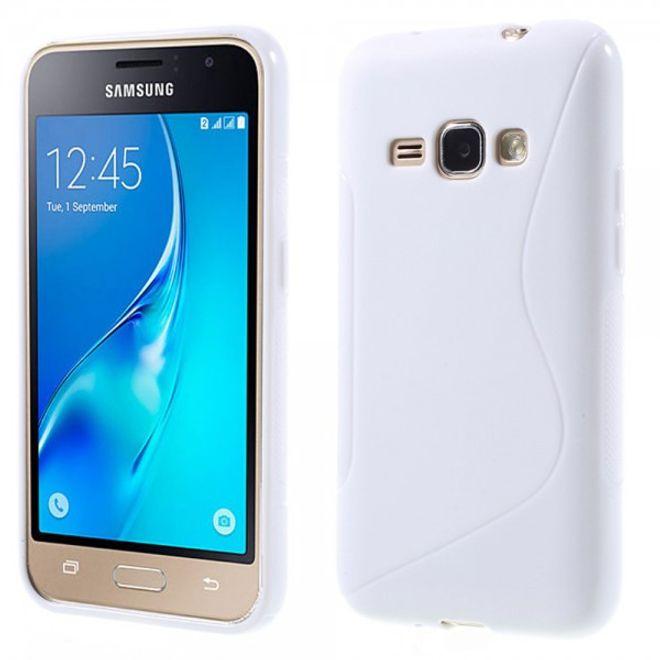 Samsung Galaxy J1 (2016 Edition) Elastische Plastik Case Gummi Hülle S-Shape - weiss