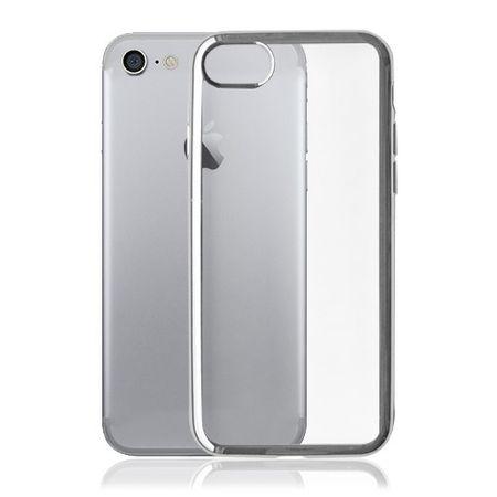 iPhone 8 / 7 Okkes Fisek Dünne Plastik Case Hülle mit farbigen Kanten - silber