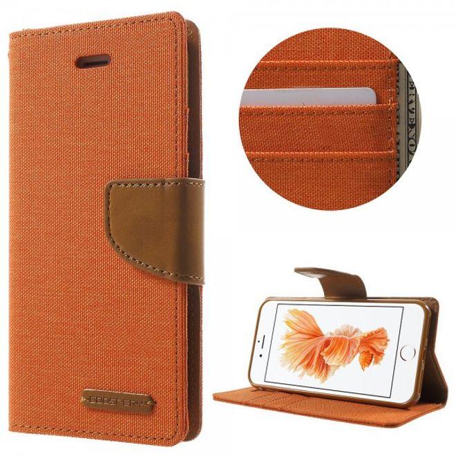 Goospery Mercury Goospery - iPhone 8 / 7 Case - Handyhülle aus Leder - Canvas Diary Series - orange