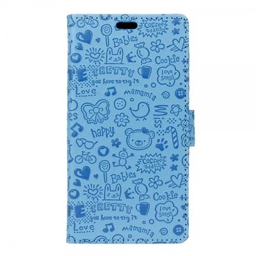 iPhone 8 / 7 Hülle - Cover aus Leder - Cartoon Graffiti Muster - mit Standfunktion - blau