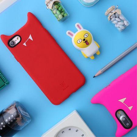 Baseus - Cover für iPhone 8 / 7 - Hülle aus Silikon - 3D Devil Series - Teufel mit Hörner - rot