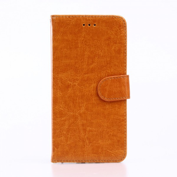 Handyhülle für iPhone 8 Plus / 7 Plus - Cover aus Leder - Crazy Horse Textur - mit Standfunktion - orange