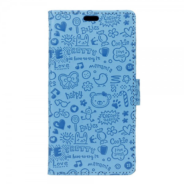 iPhone 7 Plus Hülle - Cover aus Leder - Cartoon Graffiti Muster - mit Standfunktion - blau