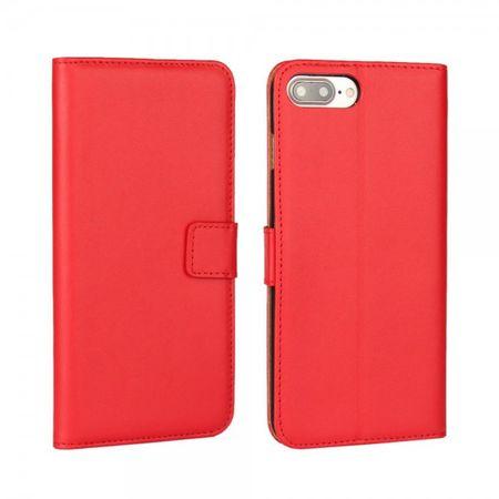 Handyhülle für iPhone 8 Plus / 7 Plus - Case aus echtem Spaltleder - mit Standfunktion - rot