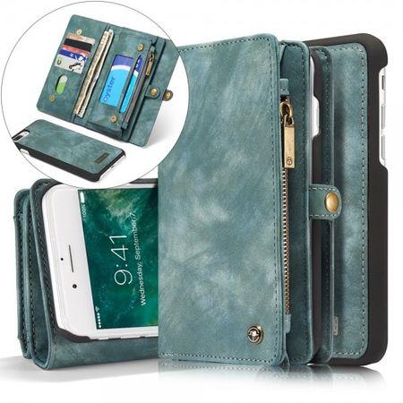 Caseme - Handyhülle für iPhone 8 Plus / 7 Plus - Echtes Spaltleder Case - 2 in 1 Portemonnaie und abnehmbares Plastik Cover - blau