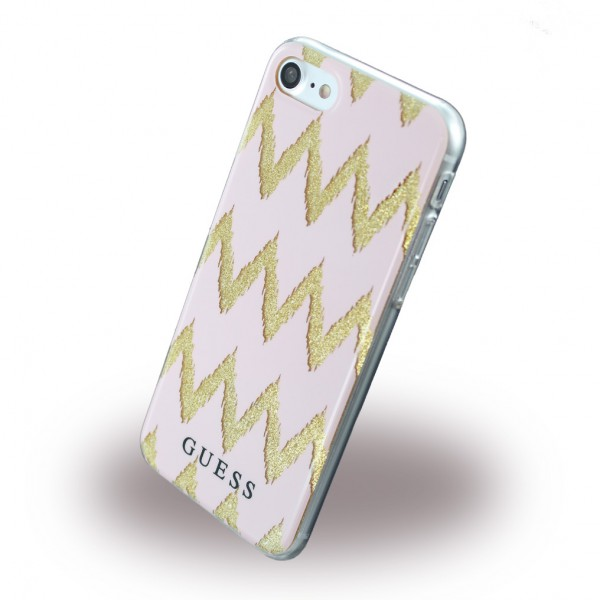 Guess Guess - Hülle für iPhone 7 - Cover aus Silikon - 3D Effekt Streifenmuster - GUHCP7CGPI - pink