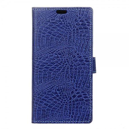 Wiko Jerry Handyhülle - Case aus Leder - mit Krokodilmuster und Standfunktion - dunkelblau