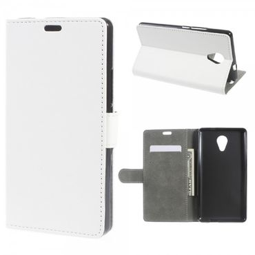 Wiko Robby Handyhülle - Leder Flip Case - mit Standfunktion - weiss