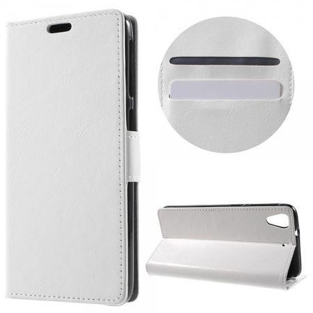 HTC Desire 628 Hülle - Handy Case aus Leder - Crazy Horse Textur - weiss