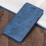 Mofi - Samsung Galaxy C7 Hülle - Flip Case aus Leder - mit Kreditkartenslots - blau