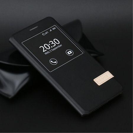 USAMS - Hülle für Samsung Galaxy C7 - Case aus Leder - Muge Series - mit Fenster - schwarz