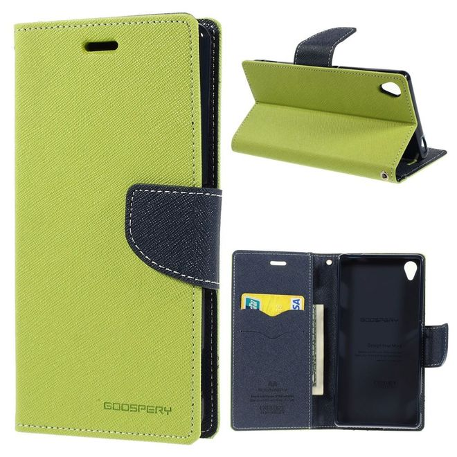Goospery Goospery - Sony Xperia Z3 Hülle - Handy Bookcover - Fancy Diary Series - lime/navy